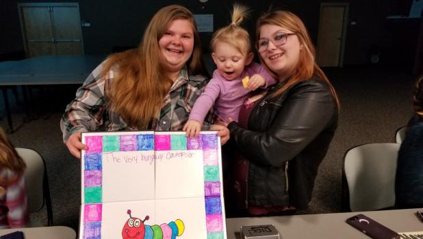 Several Connections High School students were featured at the school's Project Showcase Night March 4. The event was held at Sourcewell in Staples. Above, from left: Marie Boyer, with her Early Childhood project; her niece, Paislie Brasel and classmate Heileigh Mollner.