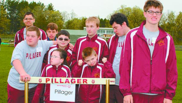 he Pillager Huskies hosted and participated at the recent Area 5 Special Olympics Athletics Competition. Pictured above from left are, front row: Emma Sebasky, Kade Hines, Nate Putnam. Center: Andrew Tabor, Tate Boelter, Josh Smith, Shelby Wilson. Back row: Ethan Hines, Domenik VanAllen.
