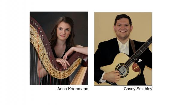 Anna Koopmann and Casey Smithley will perform at Timbers Event Center in Staples on Sunday, April 29, 3 p.m., as part of the Staples Motley Area Arts Council's regular series. The 'Afternoon Tea' event includes tea, coffee, sweets and savories, serenaded by harp and acoustic guitar (Submitted photos)