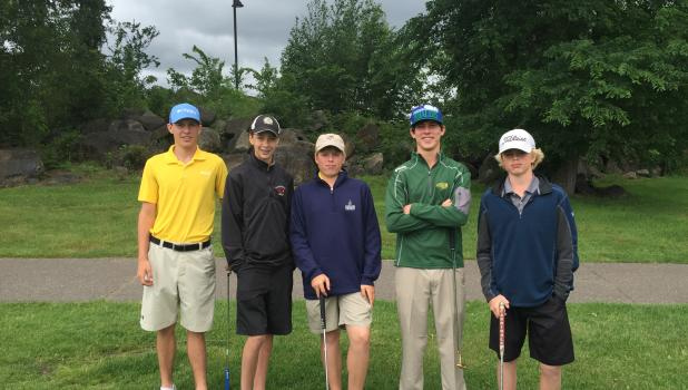 The Staples Motley boys golf team placed third in the Section 6AA meet.From left are Tyler Helling, Jack Benson, Beck Erholtz, Andrew Israelson and Finn Erholtz. Israelson was the individual champion and will compete in the state golf meet on June 14-15.