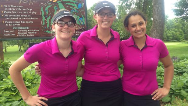 Alix Peterson, Hailey Koenig and Olivia Klefsaas at the section golf tournament. Koenig and Klefsaas both qualified for the state tournament. (