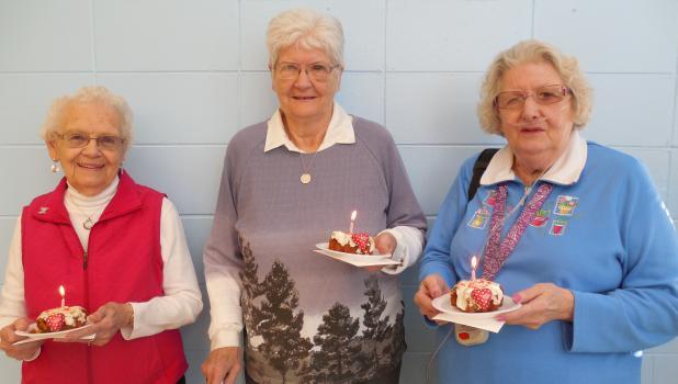 Celebrating Februrary birthdays were, left to right: Erma Pavlacky, Dorothy Balken and Jean Medley.