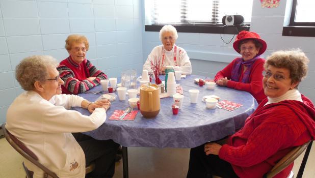 Some of the 25 people attending the Senior Valentine's Party Feb. 10 at the Staples Community Center were from left: Dolores Johnson, Harriet Dent, Jeanette Olsen, Doreen Scott and Martha Holsapple.