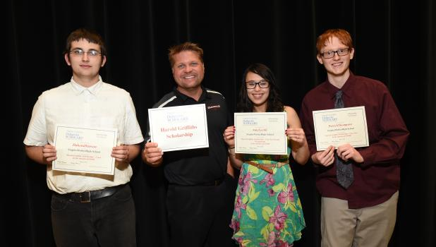 Students receiving the Harold Griffiths Scholarship, with Staples Motley High School Principal Mike Schmidt, from left, Dakota Hanson, Schmidt, Amy Lochli and Patrick Thompson.