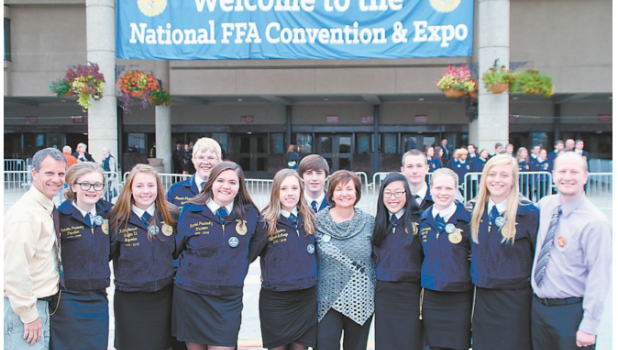 Pictured outside the Kentucky Exposition Center at the convention are, from left: Kerry Lindgren, advisor; Rebekka Paskewitz, Katie Benson, Brenden Thompson, Rachel Paskewitz, Jenna Trantina, Scout Strickland, Superintendent Klamm, Molly Lindgren, Dominic Nistler, Mary Sarah Sauber, Hayley Carlson; and Brian Schornack, advisor.