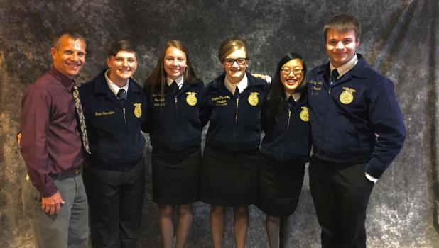 Members of Staples Motley FFA attended their national convention in Indianapolis, IN on Oct. 19-22, earning awards for their participation. From left; advisor Kerry Lindgren, members, Brian Sterriker, Katie Benson, Rebekka Paskewitz, Molly Lindgren and Zachary Strickland.