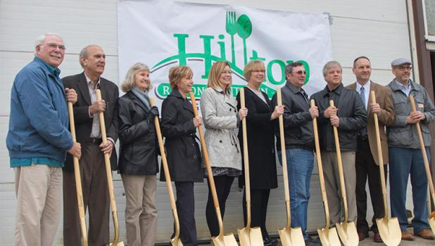 Some of the speakers participating in the Hilltop Regional Kitchen ground-breaking held Oct. 19, included, from left: Rick Hest, Eagle Bend Sr Center; Loren Coleman, MN Dept. of Human Services; Judy Petrie, Staples Sr. Center; Leota Lind, South County Health Alliance; Roxanne Jenkins, Lutheran Social Services; Julie Myhre, MN Dept of Health; Gary Kneisl, Todd County Commissioner; Kevin Hess, City of Eagle Bend; Paul Drange, National Joint Powers Alliance and Jeff Scholten, MN Dept of Agriculture. At left, J