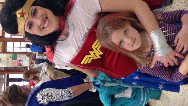 Wonder Woman (aka Tina Maros) with daughter, Clara.