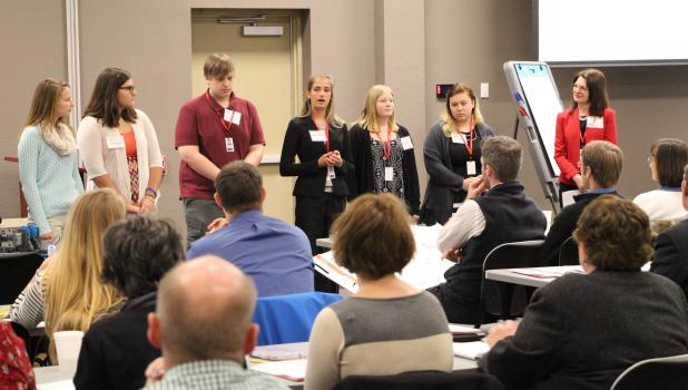 """Creating Entrepreneurial Opportunities (CEO) students from Staples-Motley and Wadena-Deer Creek explained their program to regional educators at the """"Building the 21st Century Workforce Conference"""" held at NJPA on Dec. 16. (Staples World photos by Mark Anderson)"""