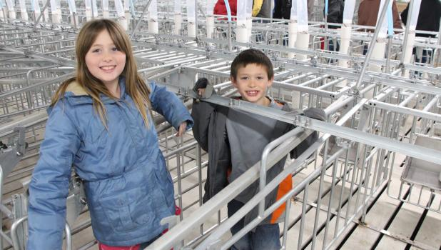 Andrea and Anthony DiGiovanni test out one of the hog crates during the Cass Crest hog facility open house. (Staples World photo by Mark Anderson)