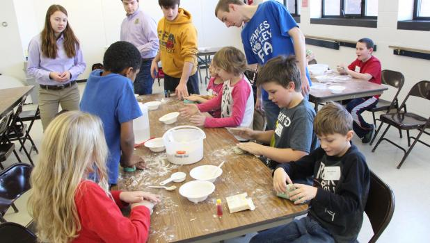 Staples-Motley FFA students helped third grade students from Staples-Motley Elementary make play dough during the school's Activity Day held Jan. 3.