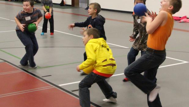 Third grade students from Staples-Motley Elementary enjoyed playing dodgeball as part of their Activity Day free time at the Staples Community Center on Jan. 3.