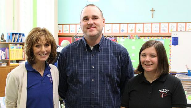 New staff at Sacred Heart Area School this year include Pat DiGiovanni, left, teaching fourth grade, new Principal Charles Durham, center, and kindergarten teacher Sara Kriefall. (Staples World photo by Mark Anderson)
