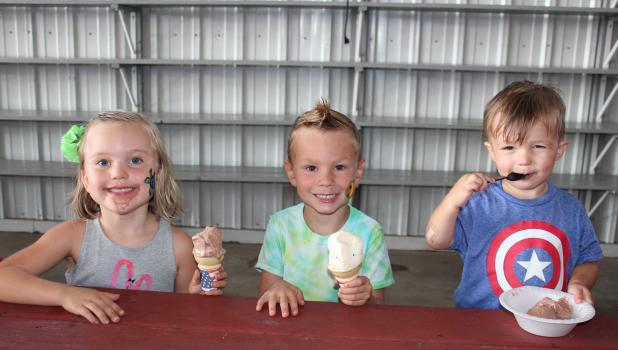 A variety of ice cream flavors were served at the fire hall during Summerfest at Scandia Valley Aug. 6. Pictured above, from left, are cousins Elise, Owen and Kai Jensen, whose family has a cabin on Fish Trap Lake.