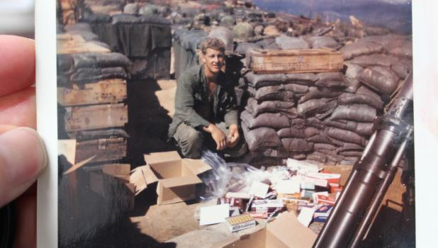 Glenn Pederson of Oylen is pictured collecting  mail at a Landing Zone (LZ) during the Vietnam War sometime during 1968 or 1969. (Submitted photo)