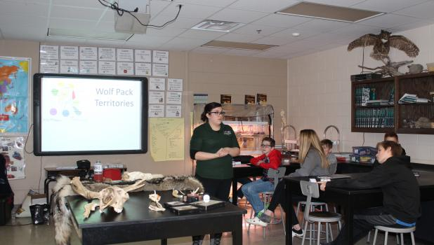 """""""Wolves at our Door,"""" a program led by Cassiopeia (Cassi) Camara, Outreach Educator with the International Wolf Center in Ely, was presented to students at Motley-Staples Middle School recently. The program included a power point presentation and a variety of wildlife artifacts which students were able to handle. Pictured above, Camara speaks to seventh graders about wolf pack territories in Minnesota. Seated, from left, are William Dolezal, Emilya Case, Seth Larson. (Staples World photos by Dawn Timbs)"""