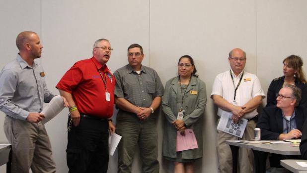 Six Veterans Service Officers from five counties gave a presentation for innovation funding at National Joint Powers Alliance in Staples on June 2. From left, Jeff Woodford; Cass County, David Anderson; Wadena County, Pete Berscheit and Teresa Sorenson; both  of Todd County, Bob Nelson; Crow Wing County and Kathy Marshik; Morrison County. Their proposal for funds, to be used for various veterans service projects was one of those that will be recommended to the NJPA Board.