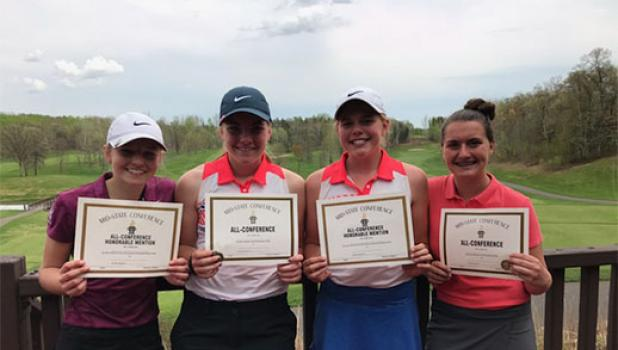 All four Staples-Motley girls golfers earned Mid State Conference honors on May 14. From left, Ava Schneider, honorable mention, Alix Peterson, All Conference, Bo Erholtz, honorable mention, and Adrianna Dickey, All Conference. (Submitted photo)