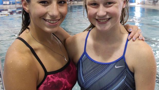 Staples-Motley/Verndale swim team captains; Lili Schneider and Emily Veronen.
