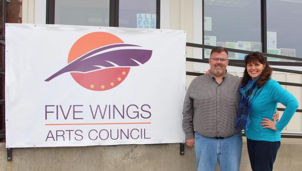 Five Wings Arts Council Executive Director Mark Turner and Grants & Program Coordinator Vicki Chepulis are at the entrance of their headquarters in Staples, behind the First International Bank parking lot. (Staples World photo by Mark Anderson