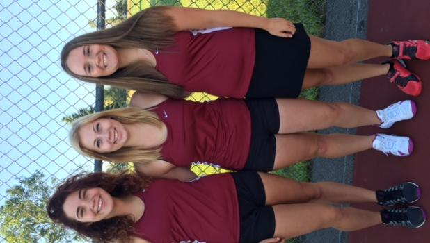 Staples-Motley tennis team captains, from left, Izabella Edin, Ashley Smith and Lexi Johnson.