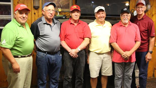 Division B winners in the Wednesday night Men's League at The Vintage in Staples, included from left; first place; Steve Sing and Marv Rothstein, second; Jim Rollins and Mike Cizek, third; Lee Jenkins and Phil Miller. During the awards presentation, a drawing was held for the birdie pool, where every time a player had scored a birdie during the season entered their name into the drawing. Winners were; Rick Odden, Brad Anderson, Bill Israelson and Paul Mithun. (Staples World photo by Mark Anderson)