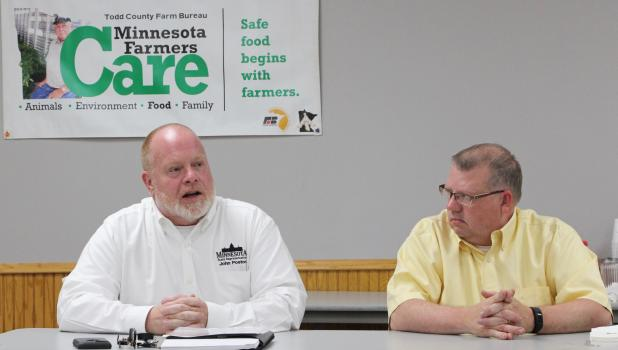 State Representative John Poston, left, and State Representative Ron Kresha discussed the issues at a forum at the Browerville Community Center on June 5. (Staples World photo by Mark Anderson)