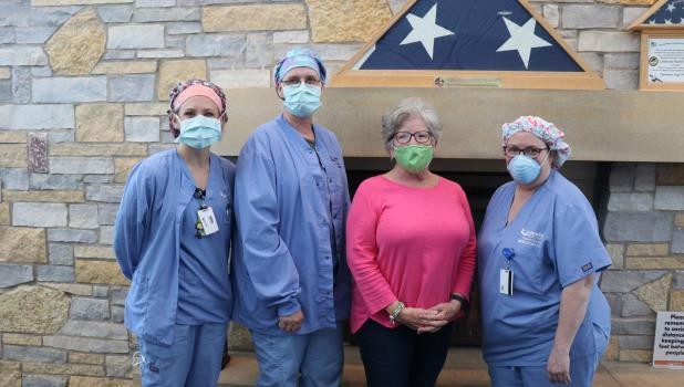 The Lakewood Health System sewers who made sleeping mats for the homeless were, from left, Gretta Trantina, RN, Surgical Services Scheduling Supervisor; Tonia Dolezal, CST; Mary Noska, OT (retired); and Micki Spears, CST. (Submitted photos)