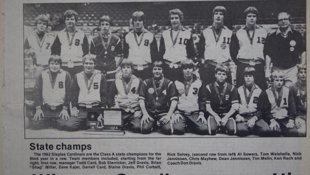 The 1982 state wrestling champions, pictured from right to left, manager Todd Card, Bob Sterriker, Jeff Dravis, Brian Miller, Dave Kajer, Darrell Card, Blaine Dravis, Phil Corbett and Rick Selvey; second row, from left to right, Al Sowers, Tom Weishalla, Nick Jennissen, Chris Mayhew, Dean Jennissen, Tim Meli, Ken Rach and Coach Don Dravis. (Staples World archives)