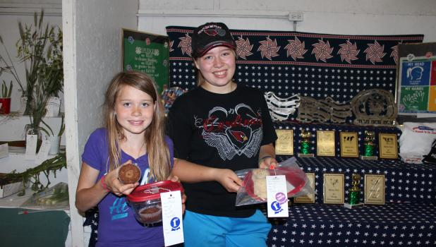 Ellizabeth DiGiovanni, 10, left; and Abbigail DiGiovanni, 13, both took home ribbons for their baked goods entries at the recent Motley Fair. Ellizabeth received a blue ribbon for her cupcakes; and Abbigail was a grand champion ribbon winner for her dinner rolls. The girls are from Motley.