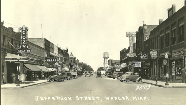 With three railroads and three trunk highways, Wadena rapidly became the distribution center for a large and rich territory. This photo from 1936 shows a view of Jefferson Street South from the corner of Colfax Avenue looking north on a vibrant business community.  Most of the buildings in those pictures are still standing and remarkably intact. (Submitted photo)