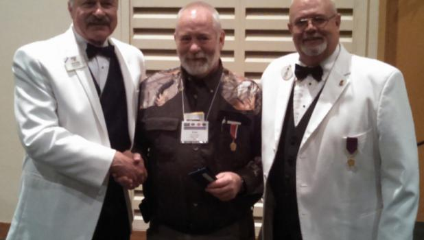Pillager Lions Club member Les Swift, center, was recently awarded the International Presidents Leadership Medal at Cragun's Resort in Brainerd. He is pictured with Lions International Director Jack Epperson (left) and District Governor Jay Norby. The award was presented to Swift by Lions International President Dr. Jitsuhiro Yamada from Japan.