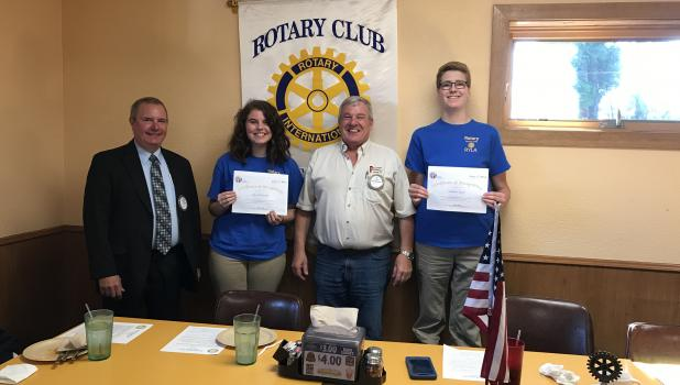 Staples-Motley High School students Andrew Bates and Sara Oberlander attended Camp RYLA, a Rotary Youth Leadership Award camp, this summer. They attended a recent meeting of the Staples Rotary Club, their sponsors to attend the camp, to receive participation certificates. From left are Rotarian Chuck Mayer, Oberlander, Rotarian Al Kolling and Bates. (Staples World photo by Brenda Halvorson)
