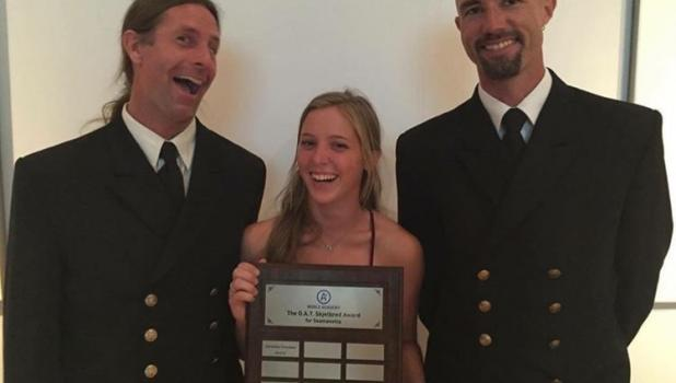 Samantha Svendsen received the O.A.T. Skjelbred award for 'Best Seamanship' during her 10-and-a-half month time onboard the Norwegian ship Sørlandet. She is pictured with her uncle, John Svendsen (left), the chief mate of the ship; and Captain Sture Erichsen. Samantha said that her uncle, originally from Nisswa, was the person who introduced her to sailing and inspired her to take on this challenge. (Submitted photos)