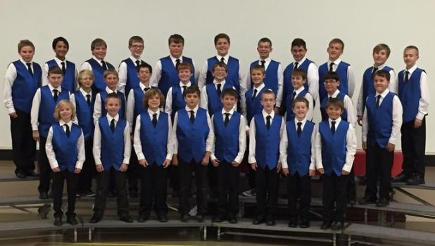 The Central Minnesota Boys Choir will present the final concert of their season at Sacred Heart Church, Staples, at 7:30 p.m., Tuesday, June 7. Members of the Voyageur Choir are, front row, from left, Conlan Jaeger, Tristan Sampson, Connor Judd, Keegan Bestland, Jay Dregney, Drew Berg, William Dolezal and Haiden Rychner; middle row, from left, Landin Foust, Hunter Miller, William Thew, Christopher Moench, Luke Bates, Sam Jennissen, Grant Johnson, Isaiah Schultz, Alex Brings and Evan Allen; back row, from le