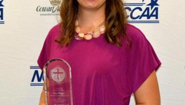 Tera Weyer with her Student-Athlete Character Award from the National Christian College Athletic Association, presented at the NCCAA convention in Louisville, Ky., on June 2.