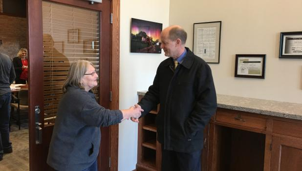 Todd County Commissioner Barb Becker took a few minutes to talk with State Senator Paul Gazelka after the meeting to discuss specific District 1 concerns. (Photo by Karin Nauber)