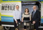 Technology Mobile recently received the donation of two additional 3D printers for use in area schools. From left are Paul Drange, National Joint Powers Alliance; Alicia Green, Technology Mobile; and Steve Reberg, Staples Business Advantage representative. (Submitted photo)