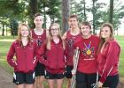 Staples-Motley cross country captains, from left, Mikayla Sauber, Coleman Klimek, Taylor Yungbauer, Nick Tabatt, Blake Gerard and Alex Miller.