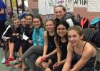 Staples-Motley/Verndale swimmers at the section meet, from left, Leah Crider, Joelle Bounds, Lili Schneider, Adriana Dickey, Malaya Reem, Mandy Carter (top), Evelyn Gonzalez and Aften Robinson. (Submitted photo)