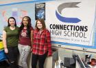 From left, Connections High School students Alyssa Vanderhoof, Taeleigh Marlowe and Shelby Brusewitz. All three believe the Connections educational format of project-based curriculum fits them well. Marlowe will graduate with a Connections High School degree this spring while Vanderhoof and Brusewitz would like to continue with the program even though it is ending as a separate school. (Staples World photo by Mark Anderson)