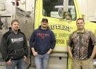 Todd Judd (center) has been appointed Chief for the Motley Fire Department. Also appointed are Chuck Gerads (right), 1st Asst. Chief; and Nick Dille (left), 2nd Asst. Chief. The chiefs posed for a photo prior to the fire department's regular meeting March 7. (Staples World photo by Dawn Timbs)
