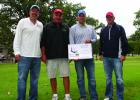 The winning team at Lakewood Health System Foundation's 23rd Annual Golf Classic was Refine Dermatique Skin & Laser. The team included, from left, Blaine Quast, Dan Orth, Brad Anderson and Randy Misegades. (Submitted photo)