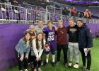 Friends and high school teammates of Cade Schmidt met him on the field of U.S. Bank Stadium after the experience of the Minnesota Football Showcase. (Submitted photos)
