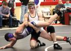 Working the arm In a pivotal match against Barnesville, Dalton Holmberg controlled the action the whole way and ended up winning 5-4.