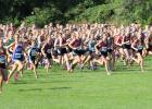 The Staples-Motley girls cross country team takes off with 600 other runners at the St. Olaf Showcase. Pictured, Kira Sweeney (1549) leads the charge, followed by Addison Lorber, Abby Brown, Ashley Robben and Kyanna Burton (partially hidden). The only runner not seen in the crowd is Addisyn Cichos. (Staples World photo by Mark Anderson)