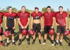 Staples-Motley senior football players, from left, Izaiah DeMars, Boston Smith, Ryan Wick, Cade Schmidt, Issac Kronnenberg, Emmitt Winkels and Garrett Carlson. (Staples World photo by Mark Anderson)s