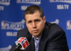"""Staples native David Joerger speaks to the press after an NBA playoff game. He will have a different speaking opportunity on Sept. 11 at 2:30 in Staples with his """"Life in the NBA"""" program at Centennial Auditorium."""