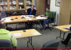 The Motley City Council held a call-in conference during their regular meeting April 13, with most council members participating by phone. Pictured front row, from left, are Brad Olson, Motley Fire Chief; and Jason Borash, Motley Police Chief. In back, from left, are Bruce Brotherton, Public Works Director; Mayor Al Yoder; and Curt Bryniarski, City Clerk/Treasurer. (computer screen shot)
