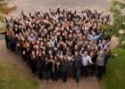 Sourcewell employees gather (before COVID-19) to show how much they appreciate working there. (Submitted photo)